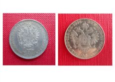 Kingdom of Lombardy Venetia — 1/4 florin, 1859 V and 20 Kreuzer, 1842 M — Silver
