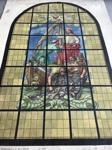 Unique painting of stained glass projects, from St Peter's church in Woluwe - La pêche miraculeuse - Chinese ink and Watercolour