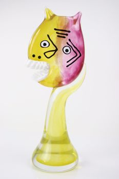 R.Rysz - Glass Sculpture 'Laugh' - Picasso
