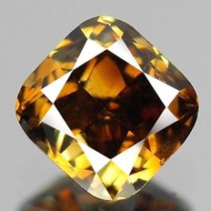 Fancy diamond in quadratic pillow cut weighing 0.29 ct, deep brown