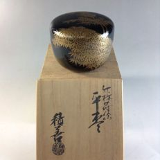 A black lacquer ware ('urushi') tea powder container ('cha-ire') - Japan - late 20th century