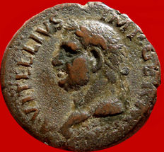 Roman Empire - Vitellius, January 2nd. – December 20th., 69 A.D. (recognized Emperor in Rome on April 19th.)  bronze as (9,96 g. 27 mm.), Tarraco mint, January-June AD 69. LIBERTAS RESTITVTA. Rare!!