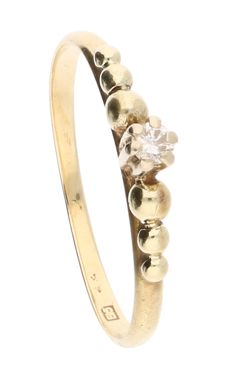 Ring - 14k Geelgoud met  diamant- Ringmaat: 16 mm