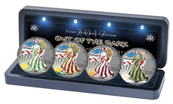 USA - 4 x 1 CAD - American Eagle - 999 silver coin - 4 seasons Out of the Dark - 2017 - ruthenium colour set