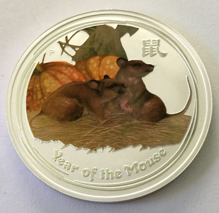 Australia - 1 dollar 2008 'Year of the Mouse' coloured - 1 oz silver