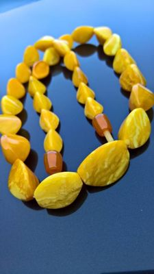 Antique  Amber necklace, beeswax egg yolk colour, untreated, 37 gr