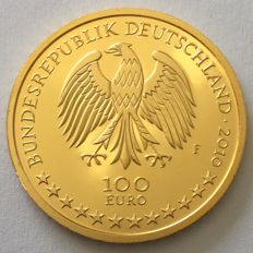 Germany – €100 2010 'UNESCO world heritage / Würzburg residence and garden' – ½ oz gold