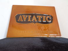 Aviatic vintage billboard in faience