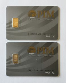 PIM-Nadir: 2 x gold bars of 1.0 gram each, sealed in a blister