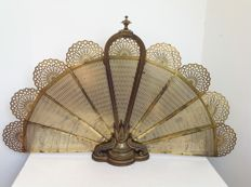 Antique bronze fan fireplace screen-France-second half 19th century