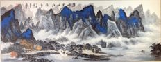 Large hand painted painting of landscape made after Zhou Lingyun - China - late 20th/21st century