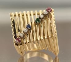 14k yellow gold ring set with brilliant cut ruby, sapphire, emerald and diamond, approx. 0.16 ct in total, ring size 17 (53)