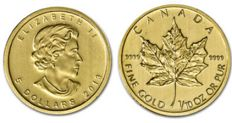 Golden 1/10 troy ounce Maple Leaf coin