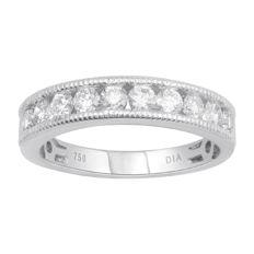 18KT.Brand new white gold channel mill grain edge diamond eternity wedding band set with brilliant round diamonds 0.75ct , GH colour and SI clarity. Size 54/N (free resizing in Antwerp)