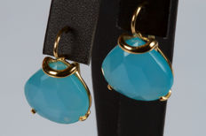 Earrings in 18 kt gold with droplet cut agate - 2.5 cm
