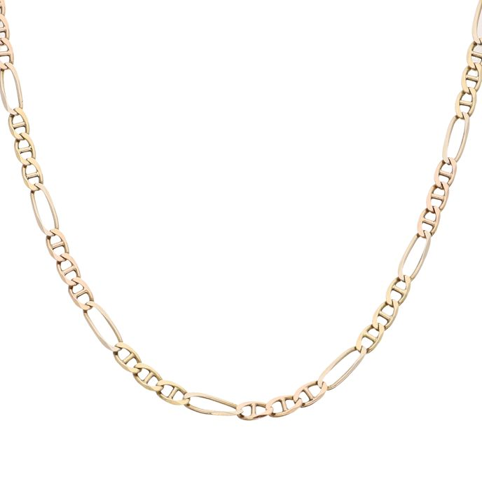18 kt Tricolour Figaro link necklace, length is 47.5 cm.