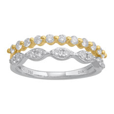 Brand new 18Kt. two tone white and yellow gold eternity ring set with 0.50ct., GH colour, SI clarity in an intricate claw setting. Size 54/N (free resizing in Antwerp)