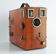 Falling plate camera, rare, luxurious wood, with 7 plates (film holders), film format is: 9x12 cm.