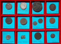 Italian Mints – Lot of 13 pieces. Bronze. Mixed metals. Silver.