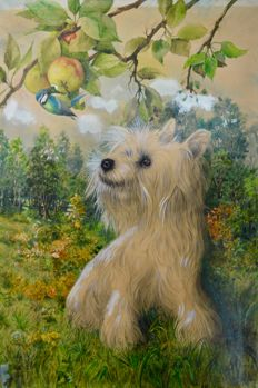 Clifford S Percy (20th century) - A terrier watches a blue tit peck an apple