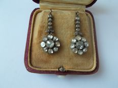 Early 19th century Earrings of 3 Carats Rose Cut Diamonds NO RESERVE PRICE