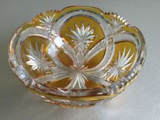 Old bowl in Bohemian crystal, double layer cut Honey colour