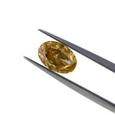 1.46ct. Natural Fancy Brown Yellow VVS1  at Oval Shape diamond,