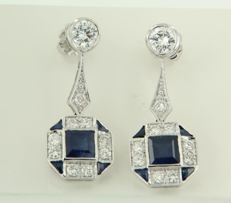 14 kt white gold dangle earrings set with sapphires and 20 brilliant-cut diamonds, approximately 1.44 carat in total