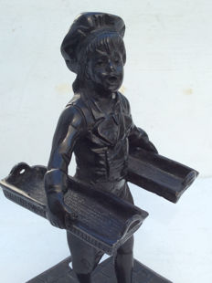Beautiful bronze statue of a boy with baskets - Belgium - 1st half of  20th century