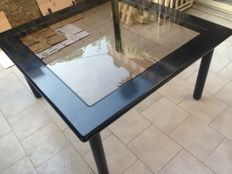 Unknown designer – Wooden table with glass base