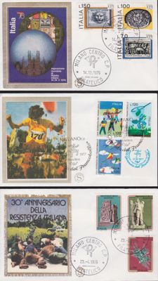 "Italy, collection of 231 first day of circulation envelopes from the ""filigrana gold"" (gold watermark) series, dating from 1969 to 1978"