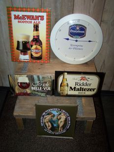 Lot of 4 Beer advertising signs + 1 Oranjeboom Beer wall clock - Dating 2nd half of the 20th century.