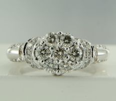 18 kt white gold ring with 49 brilliant-cut diamonds, approximately 1.60 ct in total, ring size 16.5 (52)