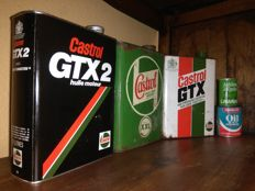 Cans of CASTROL GTX - GTX2 - XXL and 2 small cans 2T. UK and USA