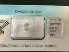 Modified cushion cut natural diamond, 0.54 ct, light yellowish brown VS2