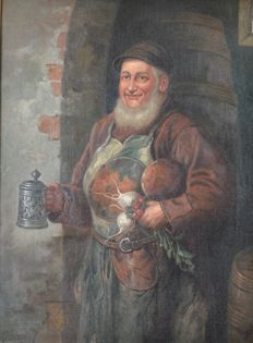 W Schoof. (Early 20th century) A man carring a stein and turnips..