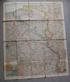 "German Empire; Original vintage map 60 x 45 cm ""Flemming's special war map no. 4 German-French-Belgian war"", with front lines from 1917 World War I"