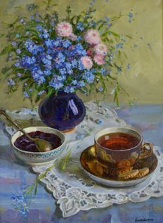 Unknown. (Russian 20th century) A still life of tea and summer flowers.