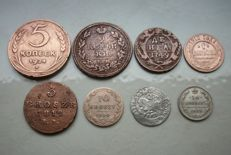 East Europe - lot of 8 coins - 1559/1924 - Russia, Poland and Lithuania - copper and silver.