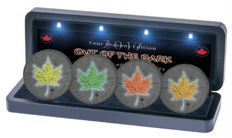 Canada - 4 x 5 CAD - maple leaf 999 silver coin - 4 seasons out of the dark - 2017 - ruthenium colour set