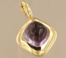 Wempe - 18 kt yellow-gold pendant with a cabochon-cut amethyst of 8.00 ct and a brilliant-cut diamond of 0.01 ct - the pendant is 2.9 cm long and 2.0 cm wide