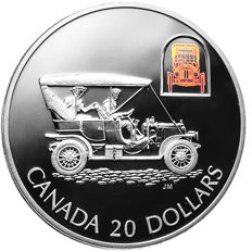 Canada - 20 Dollars 2001 'Russell Model L - Light Four Touring Car' with hologram - 1 oz silver