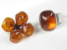 Two silver rings with amber German handmade, Fischland