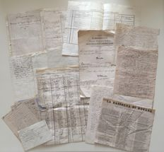 Italy - Lot of handwritten documents, infantry regiment and other original documents of the Risorgimento period - 1830/1870