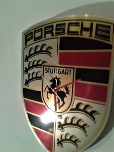 PORSCHE Big clock. PORSCHE corporate logo