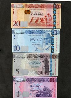 Libya - 1, 5, 10 and 20 dinars 2012/2013 - Pick 76, 77, 78 and 79