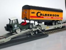 Jouef H0 - 664 - Kangourou set of the SNCF with truck and trailers and 2 transport wagons Bailly and Calberson