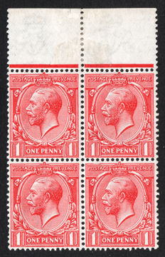Great Britain 1912/24 - 1d red, Block of four, Error Q for O, Stanley Gibbons 357a