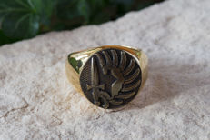 AJS Collection - French Foreign Legion Men's 24K Gold Plated Ring