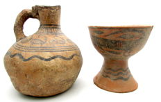 Indus Valley Painted Terracotta Goblet and Jug with Zoomorphic Motif (2)